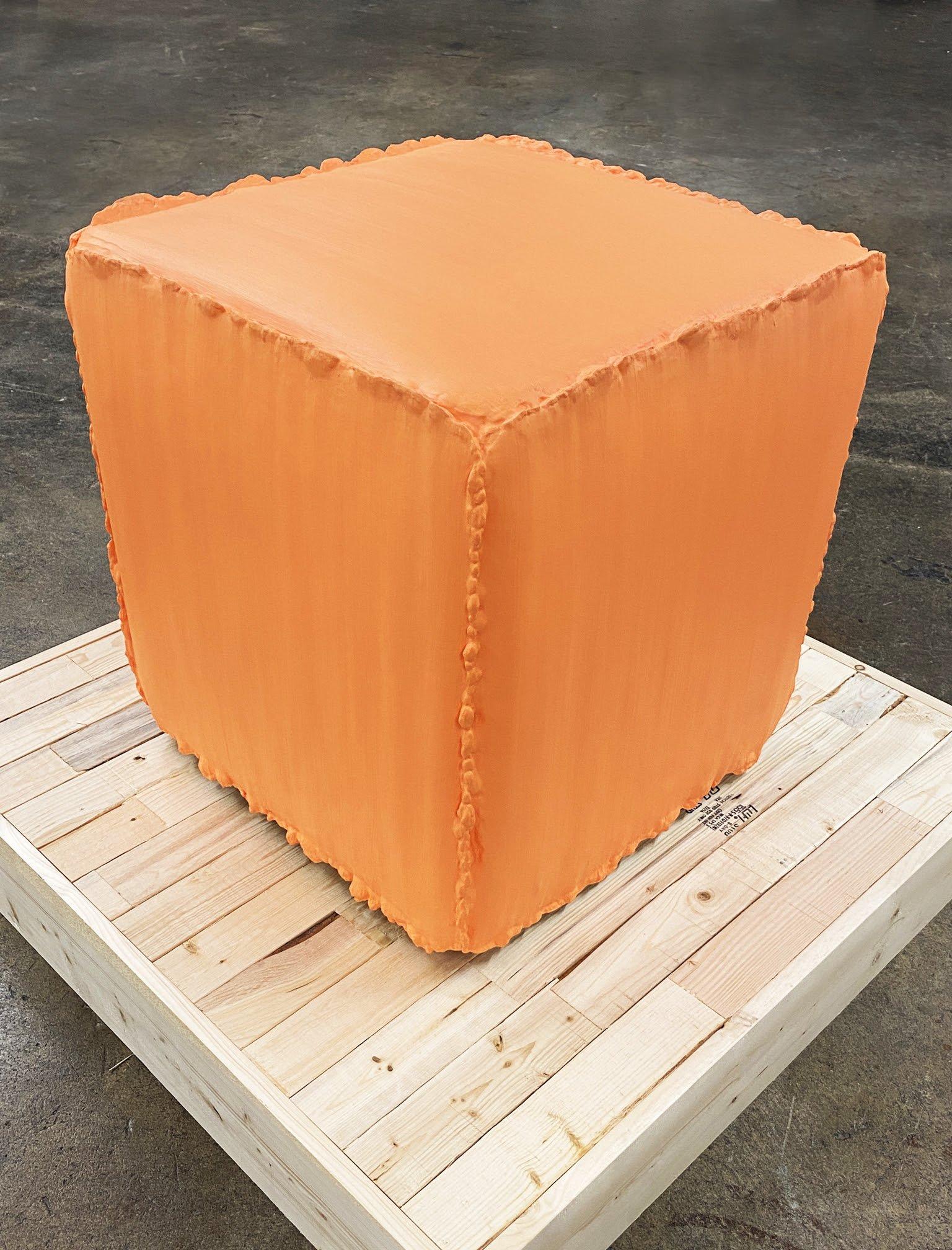 Orange Cube, 2020, acrylic paint, wood, gypsum, 19.5 × 19.5 × 20 in